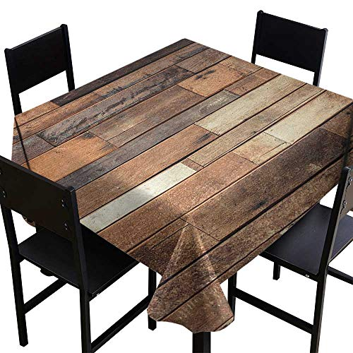 Wooden Fabric Dust-Proof Table Cover Rustic Floor Planks Print Grungy Look Farm House Country Style Walnut Oak Grain Image for Kitchen Dinning Tabletop Decoration W70 x L70