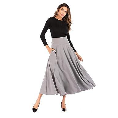 Rcool Falda Corta Faldas Faldas Mujer Invierno Faldas largas Falda Flamenca Mujer, Cintura Alta Plisada una línea Falda Larga: Amazon.es: Ropa y accesorios