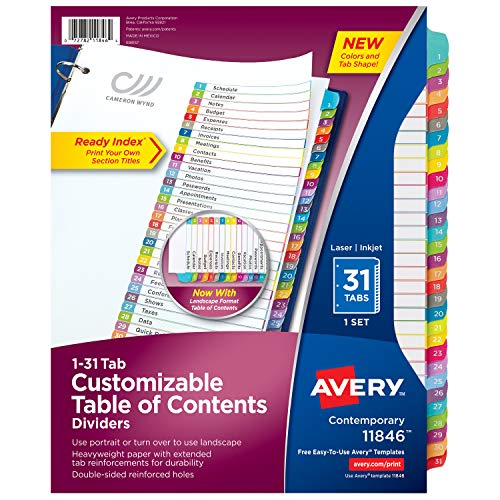 (Avery 31-Tab Binder Dividers, Customizable Table of Contents, Contemporary Multicolor Tabs, 1 Set (11846))