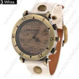 Retro Style Unique Design Music staff Men Women's Vintage Watch PU leather Band - White