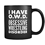 ArtsyMod OWD OBSESSIVE WRESTLING DISORDER Typography Premium Coffee Mug, PERFECT FUN GIFT for the Wrestler, Team Coach, Wrestling Lover! Attractive Durable Black Ceramic Mug, 11oz. (White Print)