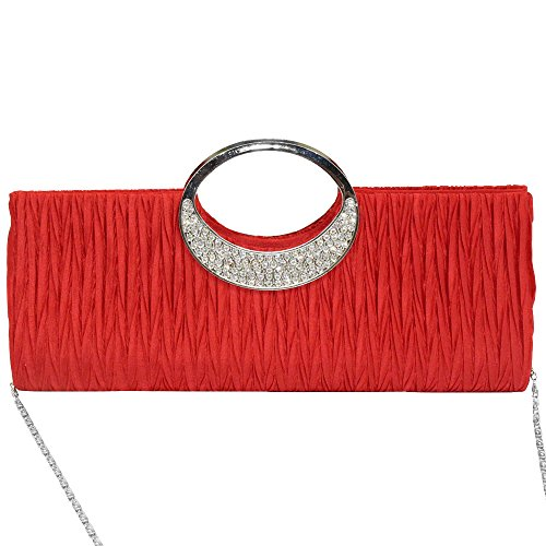 Glittery Clutch Handbag Bag Ladies Evening Diamante Red Black wocharm Wedding Wonderful Formal Silver ATxUnzqw0