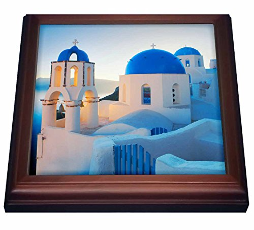 3dRose Greek Church Domes Trivet with Ceramic Tile, 8 by 8
