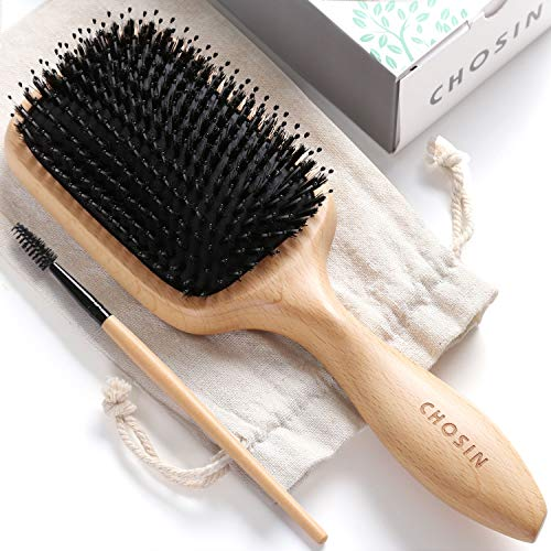 (Hair Brush CHOSIN Boar Bristle Hair Brush Natural Wooden Boars Paddle Detangling Cushion Hairbrush for Women Men Kids Good for Thick Long Short Dry Damaged Curly Wavy Frizzy Fine Hair)