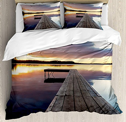 (Landscape Duvet Cover Set, Luxury Soft Hotel Quality 4 Piece King Plush Microfiber Bedding Sets, Serenity Relaxing Themed Port Pier Wooden Rustic Image of Dawn Sunset in Lake)