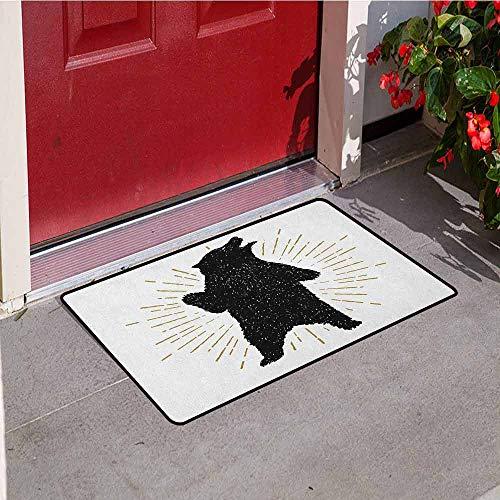 GloriaJohnson Bear Universal Door mat Sketch of Tribal Icon with Roaring Grizzly Bear and Sunburst Effect Vintage Wildlife Door mat Floor Decoration W19.7 x L31.5 Inch Black -