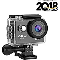 Action Camera ESoku 4K HD Underwater Sports Camera Kit 30M Waterproof Equipped with Storage Bag Headband 360°Rotatable Wristband and Floating Strap for Diving, Riding, Skiing and Other Outdoor Sports