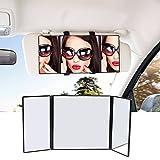 Car Tri-fold Visor Vanity Mirror, 12 inch Universal Folding Makeup Travel-Cosmetic Mirror Clip On Sun Visor for Most Car