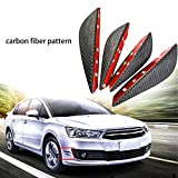 4pcs Carbon Fiber Pattern Trim Front Bumper Canards Fins Body Diffuser Splitters Kits, Universal Fit For Most Car