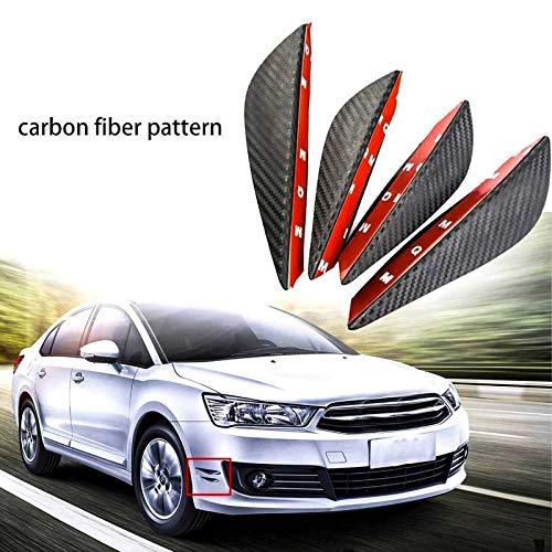4pcs Carbon Fiber Pattern Trim Front Bumper Canards Fins Body Diffuser Splitters Kits, Universal Fit For Most - Side Skirts Shark