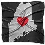 Maine Love Heart-1 Men Women Silky Scarf Headband Bandana Wrap Scarf
