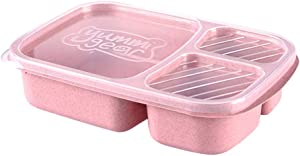 Longay Microwave Bento Lunch Box Picnic Food Fruit Container Storage Box for Kids Adult (Pink)