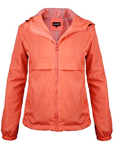 iLoveSIA Women's Outdoor Rain Jacket with Hood Neon Coral Size 6