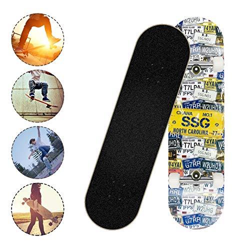 SKATEWANG Standard Skateboards Cruiser,Four-Wheel Longboard Double Kick Skate Board Cruiser,8 Layer Maple Deck Road…