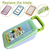 Tenta Kitchen 4 Piece Cheese Grater Set with Container - Zester Parmesan Cheese Shredder Vegetable Slicer Cheese Graters - Fine and Coarse Metal Hand Cheese Grater Adjustable Hard Cheese Slicer (4 in 1,Green)