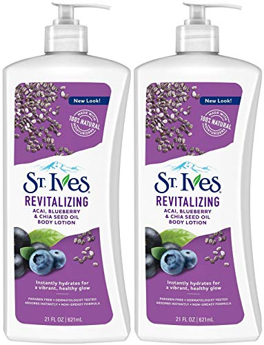 St. Ives Revitalizing Acai, Blueberry & Chia Seed Oil Body Lotion, 21 Ounce (Pack of 2)