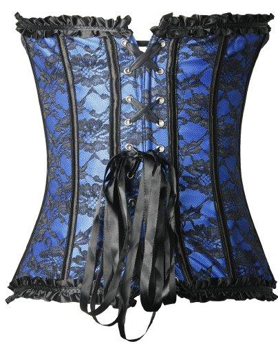 Imilan-Women-Emboridery-Blue-Corset-Top-Sexy-Lingerie-Sets