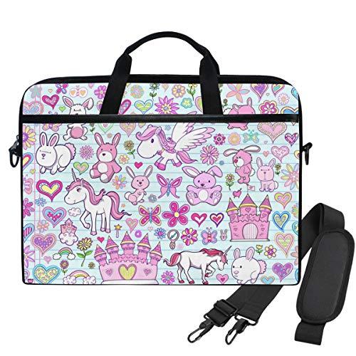 WIHVE Spring Cartoon Unicorn Bunny Flower Heart Rabbit Towel Laptop Shoulder Messenger Bag Case Sleeve for 14 Inch 13 Inch Laptop Briefcase
