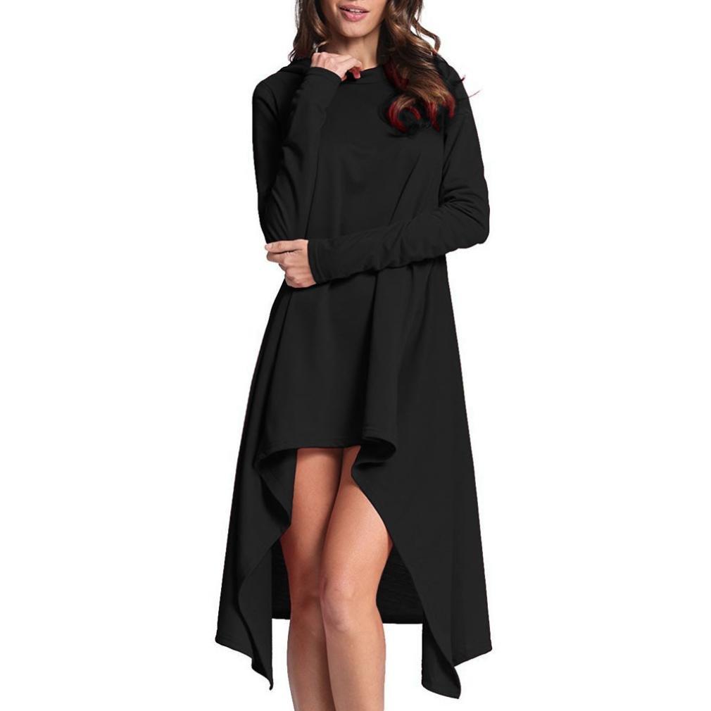 Women Dress, Gillberry Women Ladies Long Loose Irregular Hoodie Tops Sweatshirt Sweater Blouse (XXXXL, Black)