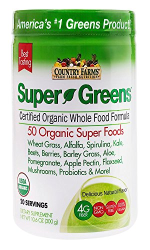 Country Farms Super Greens Natural flavor, 50 Organic Super Foods, USDA Organic 20 servings Drink Mix Net WT 10.6 oz