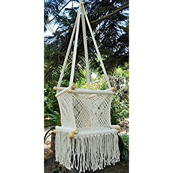 Amazon.com : Baby hanging chair handmade macrame cotton beige ...