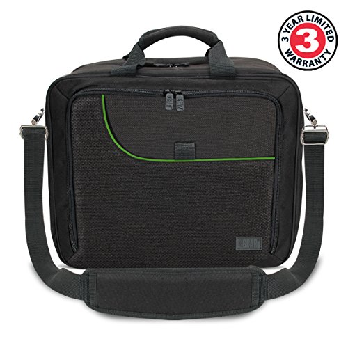 USA Gear Case Compatible with Xbox One / Xbox One X Travel Carrying Bag for Console, Controllers, Games & More w/ Adjustable Shoulder Strap, Accessory Storage Pockets, & Customizable Interior - Green