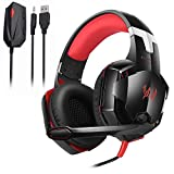 KOTION EACH GS600 PS3 PS4 Xbox 360 Xbox One Stereo Gaming Headset with Microphone, Comfort Over-Ear Headphones 3.5mm, Console/PC/Mac/Laptop Video Games Multi-Platform Compatible, Noise Cancelling, Red