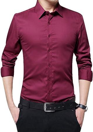 ECOSWAY Hombre Manga Larga Camisas Ajustado Sólido Negocios Camisas Formales para Otoño, Hombre Informal Camisas con Botones Camisas, Hombre Entallado Manga Larga Camisas - Rojo Vino, 2XL: Amazon.es: Hogar