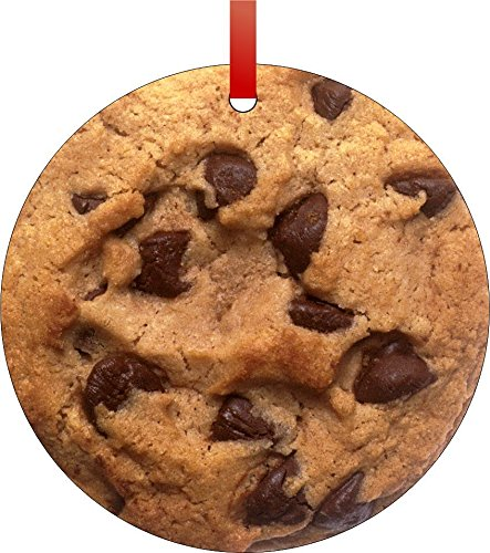 Rosie Parker Inc. Chocolate Chip Cookie-Flat Round-Shaped Aluminum Christmas Ornament with a Red Satin Ribbon/Holiday Hanging Tree Ornament/Double-Sided Decoration/Great Unisex Made in The USA! (Cookie Round Chip Chocolate)