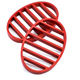 Roasting Rack, Nonstick Silicone Flat Round Roasting Rack for Turkey Pork Fish Pan - Red (Pack of 2)