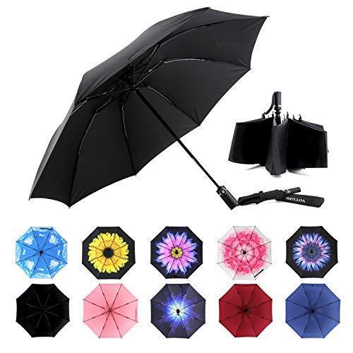 MRTLLOA Inverted Umbrellas Reverse Folding Umbrella Windproof UV Protection Compact Umbrella for Travel Outdoor Daily Use(Black)