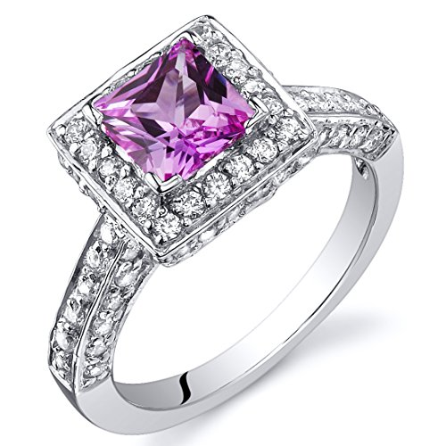Sapphire Ring Princess Pink (Created Pink Sapphire Princess Halo Ring Sterling Silver Rhodium Nickel Finish 1.00 Carats Size 8)