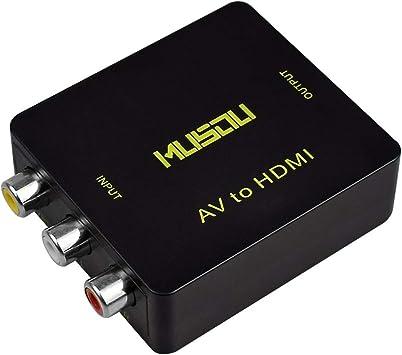 RCA a HDMI,Musou 3RCA Compuestas AV a HDMI Video Audio Convertidor de carga USB Soporte 720p/1080p para PS4 PS3 PC Xbox TV STB VHS.: Amazon.es: Electrónica