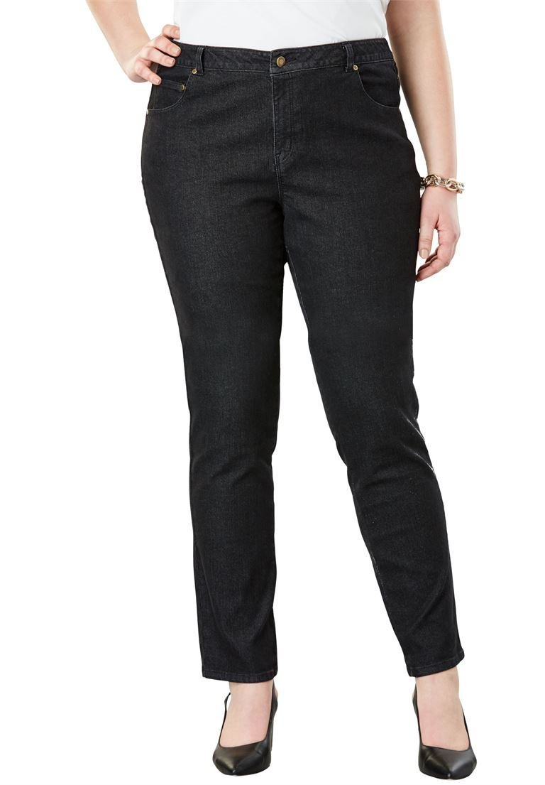 Jessica London Women's Plus Size Petite True Fit Straight Leg Jeans Black