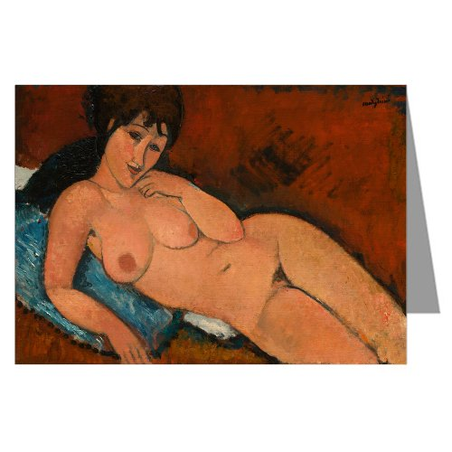 Single Amedeo Modigliani Fine Art Painting Titled Nude On A Blue Cushion 1917 Greeting Card