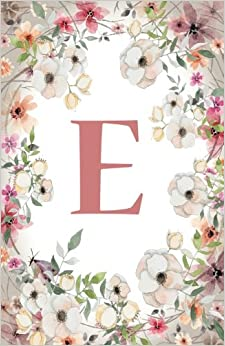 E: Monogram Initial Name Notebook (journal, composition, Diary, Ruled, scrapbook) 120 Lined Pages 60 Sheets for Kids, Girl, Woman and School 5.5 x 8.5, Pink Floral: Volume 5 (Pocket Size)