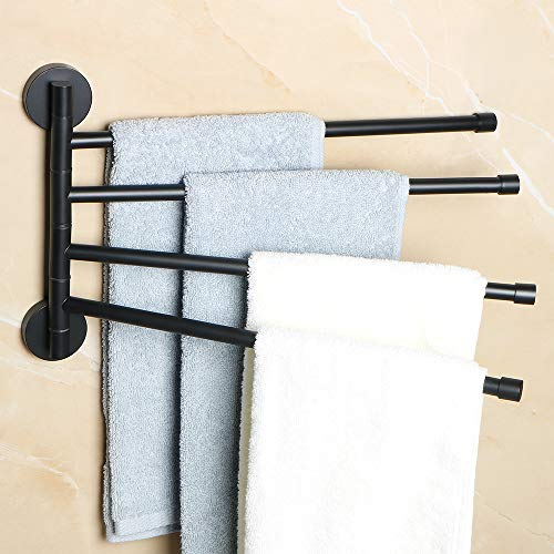 Alise Swing Out Towel Bar 4-Bars Folding Arm Swivel Hanger Bathroom Towel Rack Space Saving Wall Mount,SUS304 Stainless Steel Matte Black