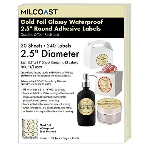 Milcoast Gold Foil Glossy Waterproof Tear Resistant Blank Adhesive 2.5