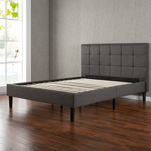 Upholstered Square Stitched Platform Bed with Wooden Slats, Full