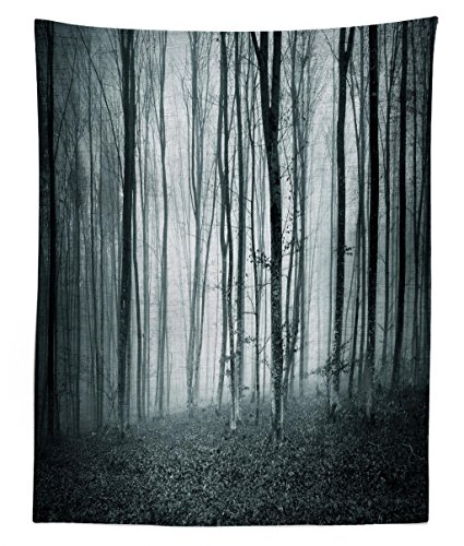 Lunarable Mystical Tapestry Twin Size, Grunge Color Shade Foggy Mystical Dark Forest Tall Trees Horror Theme Print, Wall Hanging Bedspread Bed Cover Wall Decor, 68 W X 88 L inches, Teal and Grey
