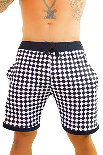 Rave Shorts Mens (Mens Checkerboard Athletic Rave Shorts - Checker Festival Clothing Hidden)