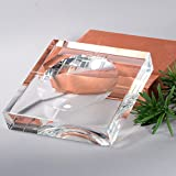 BRLIGHTING Square Crystal Glass Ashtray W7.6 inch(200mm) for Man and Women, Outdoors Indoors Ash Tray, Desktop Smoking Ash Tray for Home office Decoration,BRAS7024