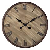 Sterling 128-1007 Wooden Roman Numeral Outdoor Wall Clock, 24-Inch, Antique Washed Wood with Bronze Highlight