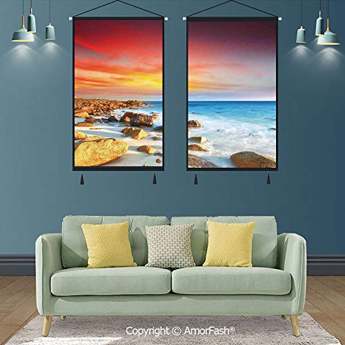 SCOXIXI Coastal Decor,Tapestry Wall Hanging Cotton Linen Wall Art,for Home Decor,Sunrise Over Seashore Stone on The Foreground Caribbean Morning View Picture