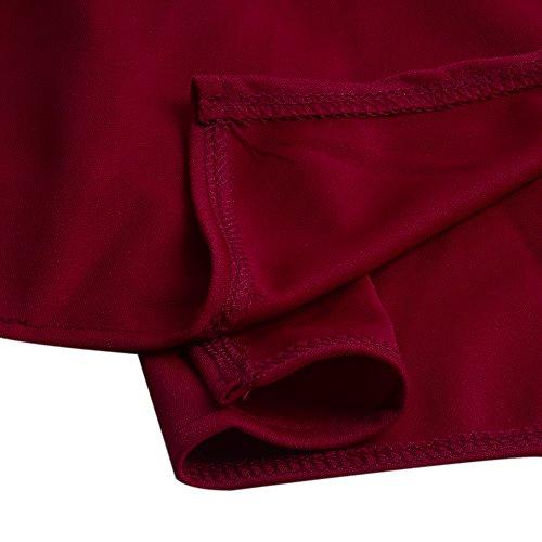 Plage Longue Pliss Robe Rouge Haute de Jupe Asymtrique Bonboho Rtro Jupe Ourlet avec Femmes Taille Casual q0awqtvHx