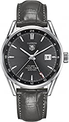 Tag Heuer Carrera Twin Time Anthracite Dial Grey Alligator Leather Mens Watch WAR2012.FC6326