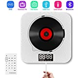 CD Player, DVD Player 2 in 1, CD/DVD Player with Bluetooth, Portable CD/DVD Player Wall Mountable Dual Pull Switch Speakers with Cover, LCD Display and Remote Control, Support FM Radio& Timer