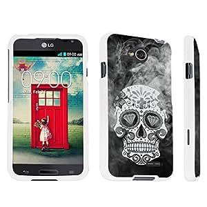 DuroCase ? LG Optimus L70 / LG Optimus Exceed 2 Hard Case White - (Smoky Dead Skull)