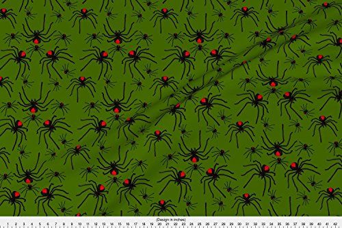 Spider Fabric Redback Spider Poison Soup With Green Goo by Crafty Bug Lady Printed on Performance Piqué Fabric by the Yard by Spoonflower