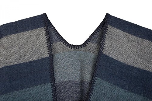 Poncho grigio Reversibile 08010009 A Donna Mantella Blu Motivo Stylebreaker Con Righe AgqwA4d